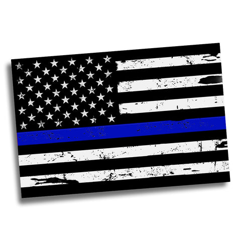 Thin Blue Line Distressed American Flag for Law Enforcement Poster 24x36 or 11x17