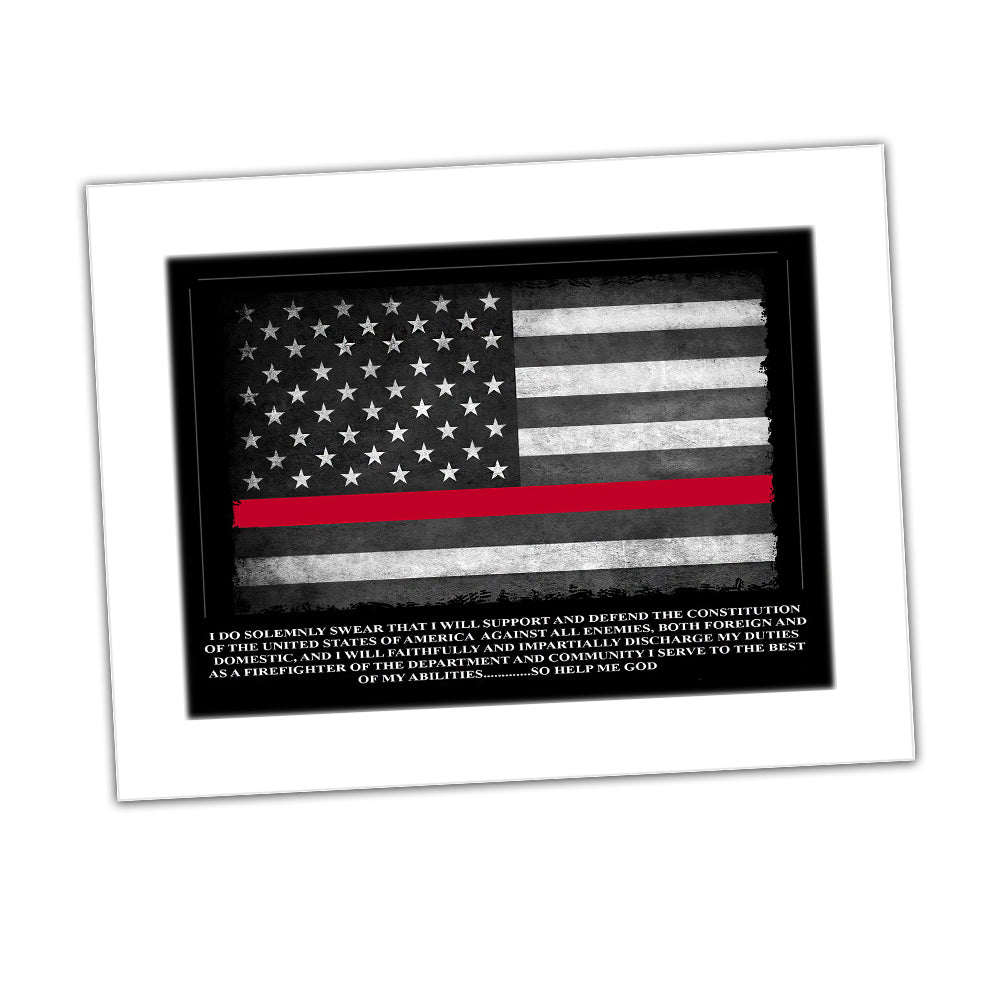 Firefighter Oath Of Office Thin Red Line American Flag Glossy Print