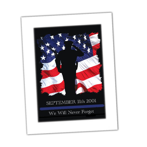We Will Never Forget September 11 2001 Law Enforcement Flag Glossy Print