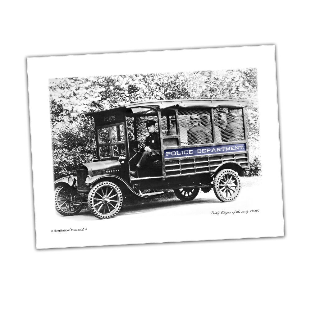 Police Print 1920's Police Department Paddy Wagon With Prisoners Glossy Print