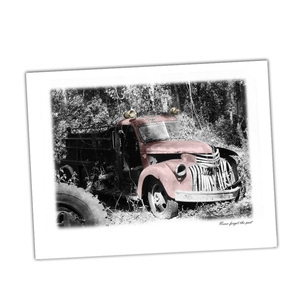 Vintage Fire Truck Never Forget The Past Firefighters Truck Glossy Print