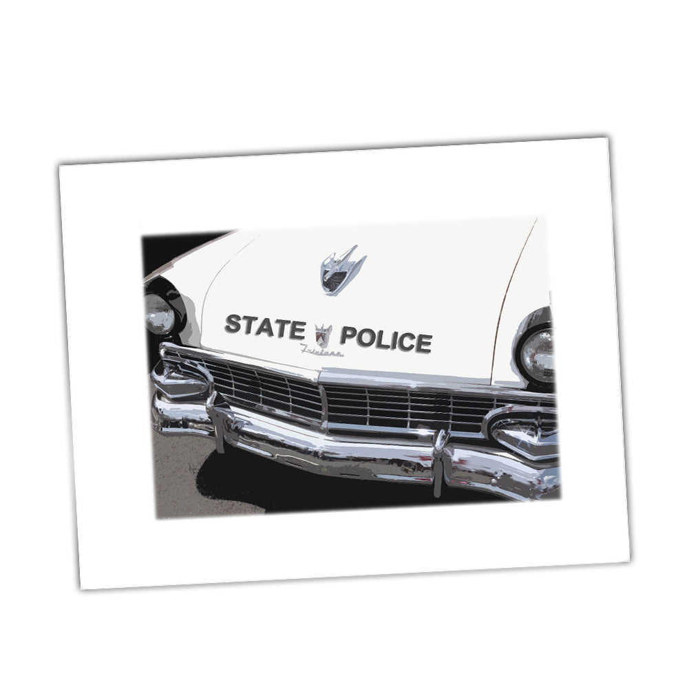 Vintage State Police Ford Fairlane Black and White Patrol Car Glossy Print
