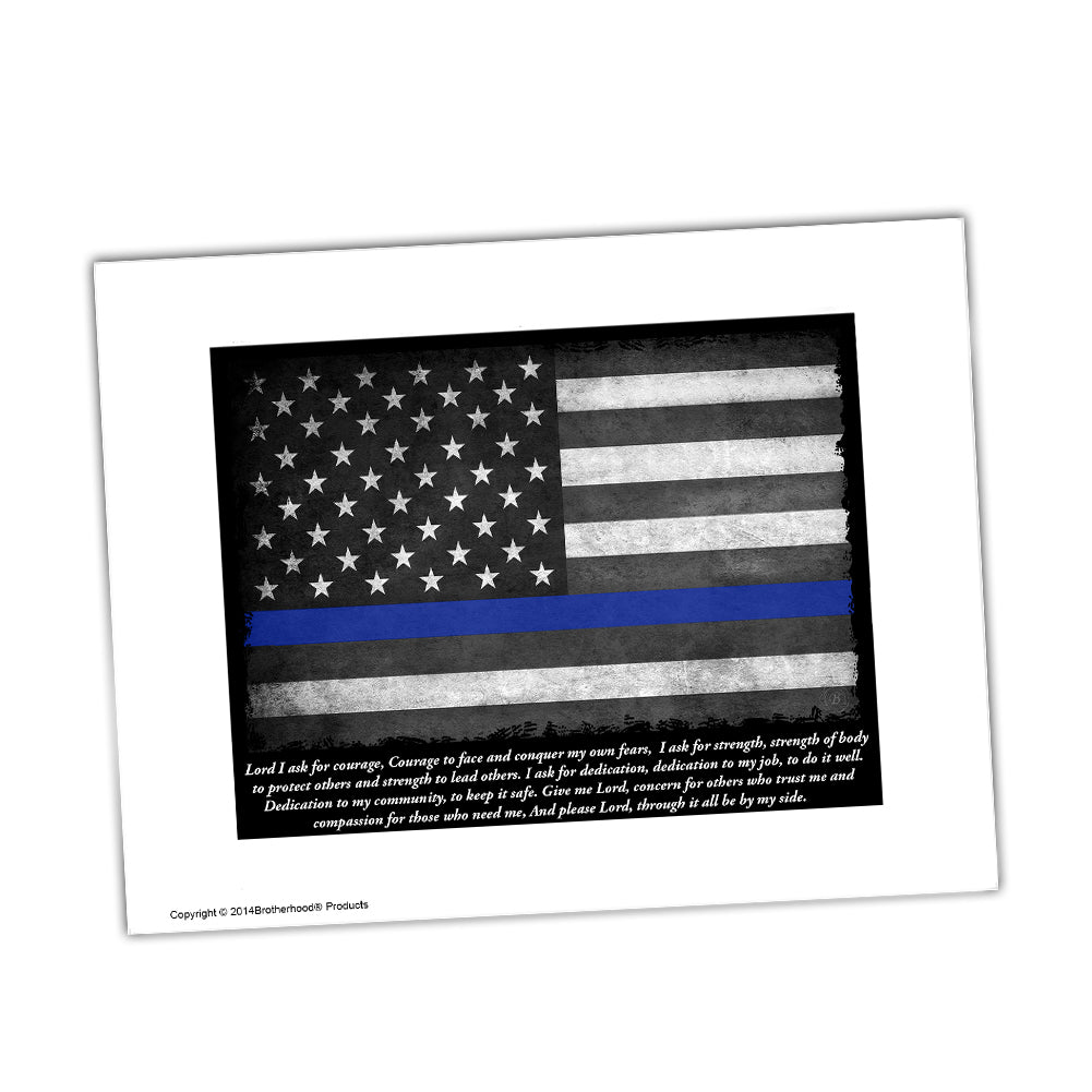 Police Officer's Prayer Thin Blue Line American Flag Glossy Print