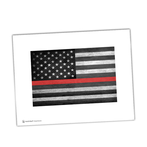 Thin Red Line American Flag Show Your Support For Firefighters Glossy Print