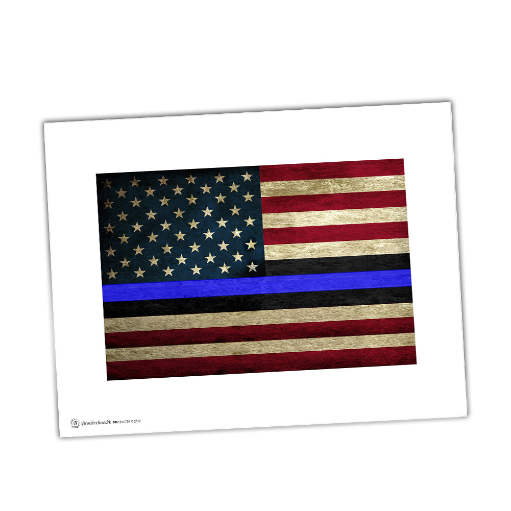 Police Print Of American Flag With Thin Blue Line