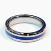 Tungsten Brotherhood Band - Thin Blue Line Ring  for Law Enforcement