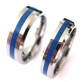 Thin blue line police ring made with silver tungsten carbide 5 mm and 7 mm width