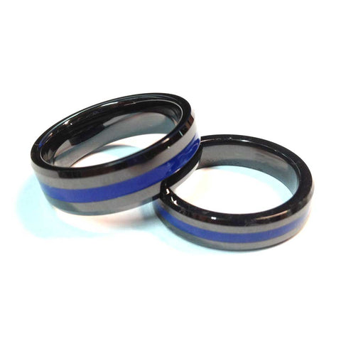 thin blue line police ring black highly durable ceramic 5 mm width or 7 mm width