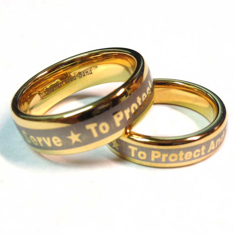 Police Ring With To Protect And To Serve Engraved on outside - Gold Tungsten Carbide 7 mm width and 5 mm width