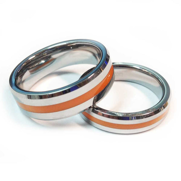 Tungsten Brotherhood Band - Thin Orange Line Ring for EMT, EMS & Paramedics