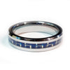 Thin Blue Line Police Ring - Silver Tungsten Carbide with Carbon Fiber Center 5 mm width