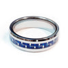 Thin Blue Line Police Ring - Silver Tungsten Carbide with Carbon Fiber Center 7 mm width