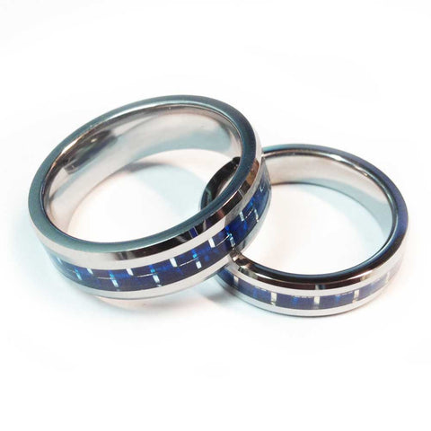 Thin Blue Line Police Ring - Silver Tungsten Carbide with Carbon Fiber Center 5 mm and 7 mm width