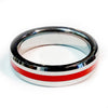 Thin Red Line Firefighter Ring - Silver Tungsten Carbide 5 mm width