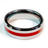 Thin Red Line Firefighter Ring - Silver Tungsten Carbide 7 mm width