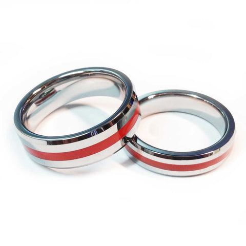 Thin Red Line Firefighter Ring - Silver Tungsten Carbide 7 mm and 5 mm width