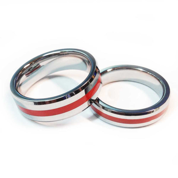 Thin Red Line Firefighter Ring - Silver Tungsten Carbide
