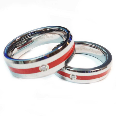 Thin Red Line Tungsten Firefighter Ring With A Stone