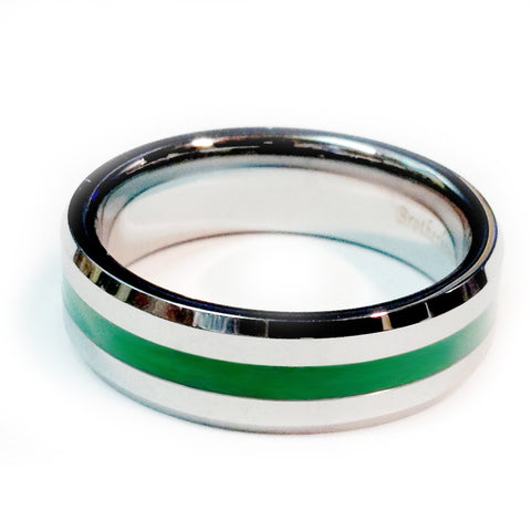 Thin green line police ring Silver Tungsten Carbide 7 mm width