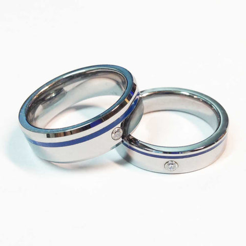 thin blue line police ring Tungsten carbide with off set blue line and cubic zirconia stone 5 mm and 7 mm width