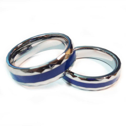 thin blue line police ring silver tungsten carbide with a facet cut band 7 mm and 5 mm widths