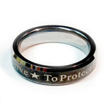Police Ring with to protect and to serve over a black finish.  Tungsten Carbide metal 5 mm width