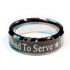 Police Ring with to protect and to serve over a black finish.  Tungsten Carbide metal 7 mm width