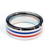Thin Red and Blue Line Ring - Dual Professionals (Fire and Police or Fire and EMS) Silver Tungsten Carbide 7 mm width
