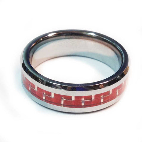 thin red line firefighter ring Silver Tungsten Carbide with a Carbon Fiber Fill that sparkles like fire 7 mm width