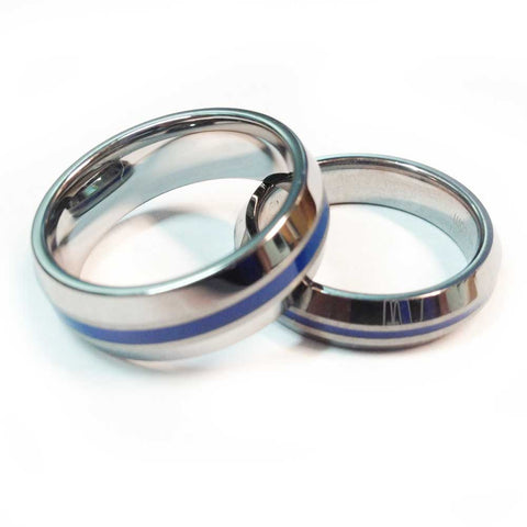 thin blue line police ring silver beveled tungsten carbide 5 mm and 7 mm width