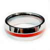 Thin red line firefighter ring Silver Beveled Tungsten carbide  7 mm width