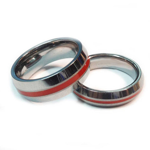 Thin red line firefighter ring Silver Beveled Tungsten carbide 5 mm and 7 mm width