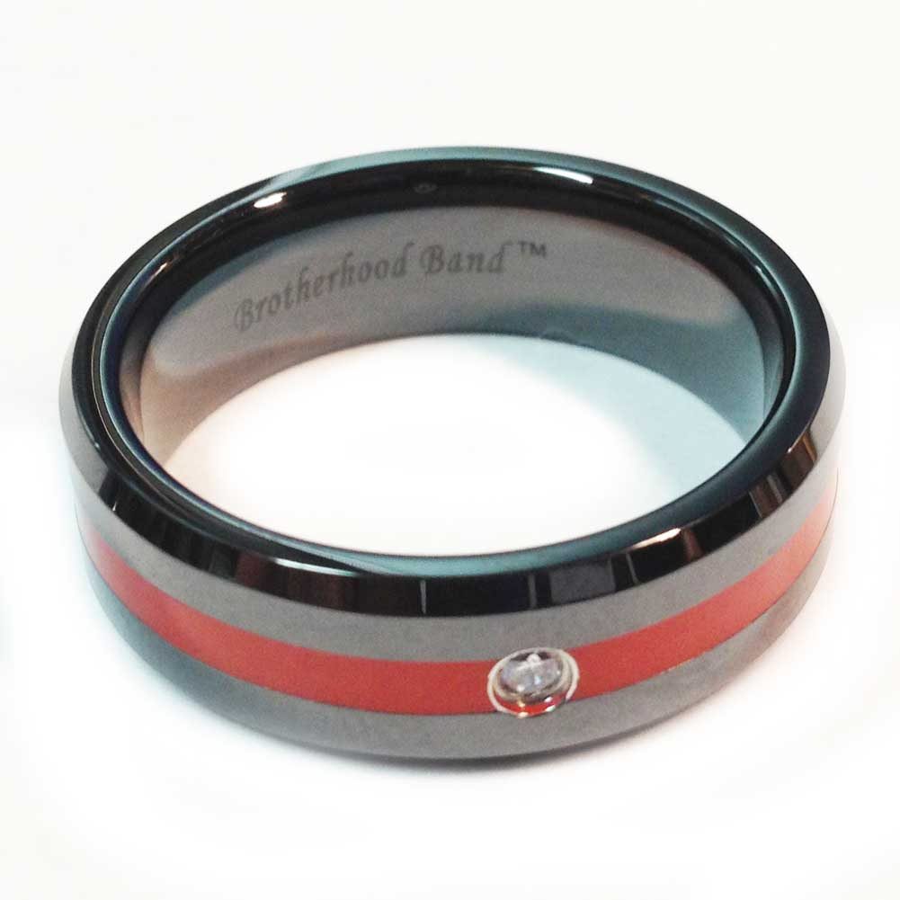 Ceramic Brotherhood Band - Thin Red Line for Firefighters Cubic Zirconia Stone