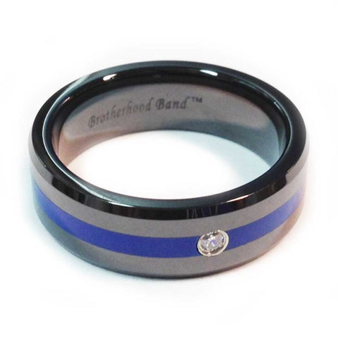 Thin Blue Line Police Ring- Black Finish With Blue Line and CZ Stone