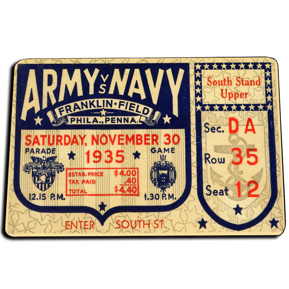 Army Navy 1935 Football Ticket Design Franklin Field Pennsylvania Door Mat Rug