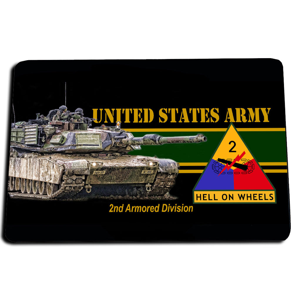 United States Army 2nd Armored Division Hell On Wheels Door Mat Rug