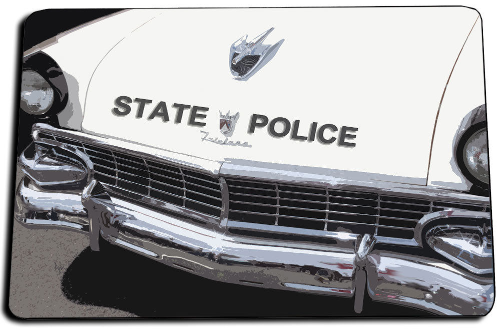 Vintage Ford State Police Fairlane Patrol Car Front End Design Door Mat Rug