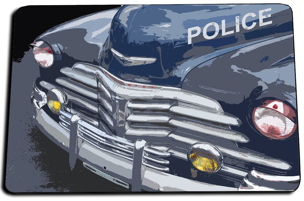 Vintage Chevrolet Police Patrol Car Front End Design Door Mat Rug