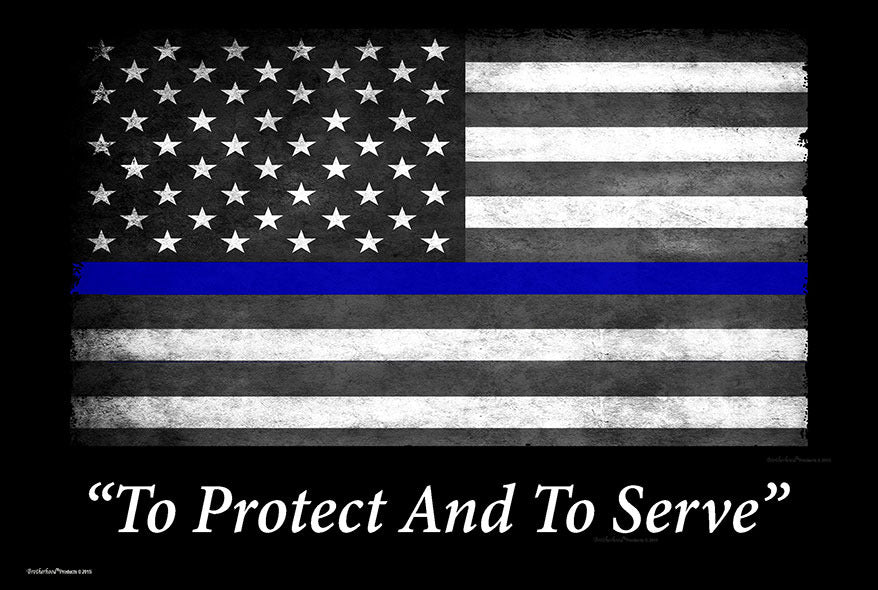 Thin Blue Line Flag To Protect And To Serve 8x12 Metal Sign