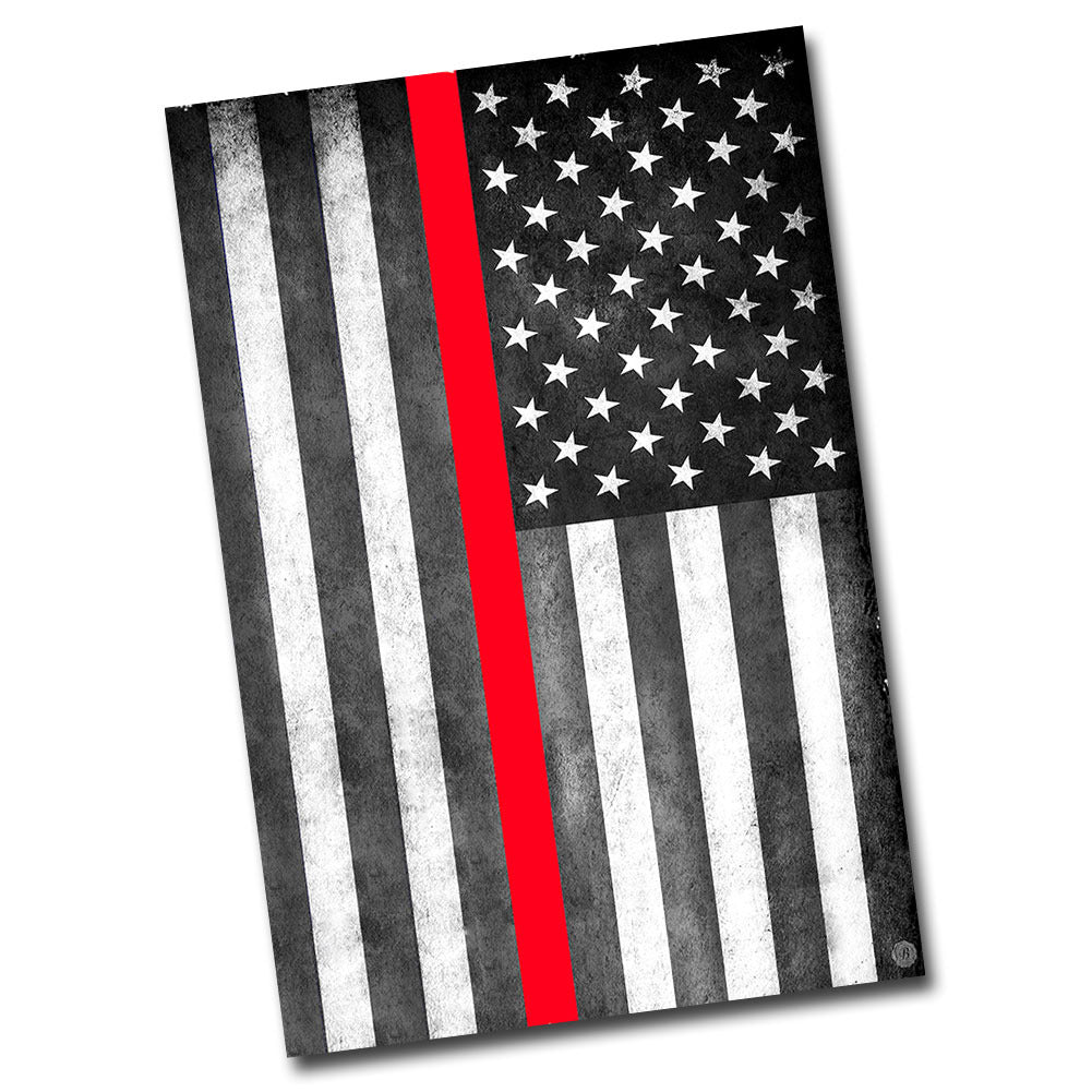 "Thin Red Line Subdued American Flag 12"" x 8"" Sign"