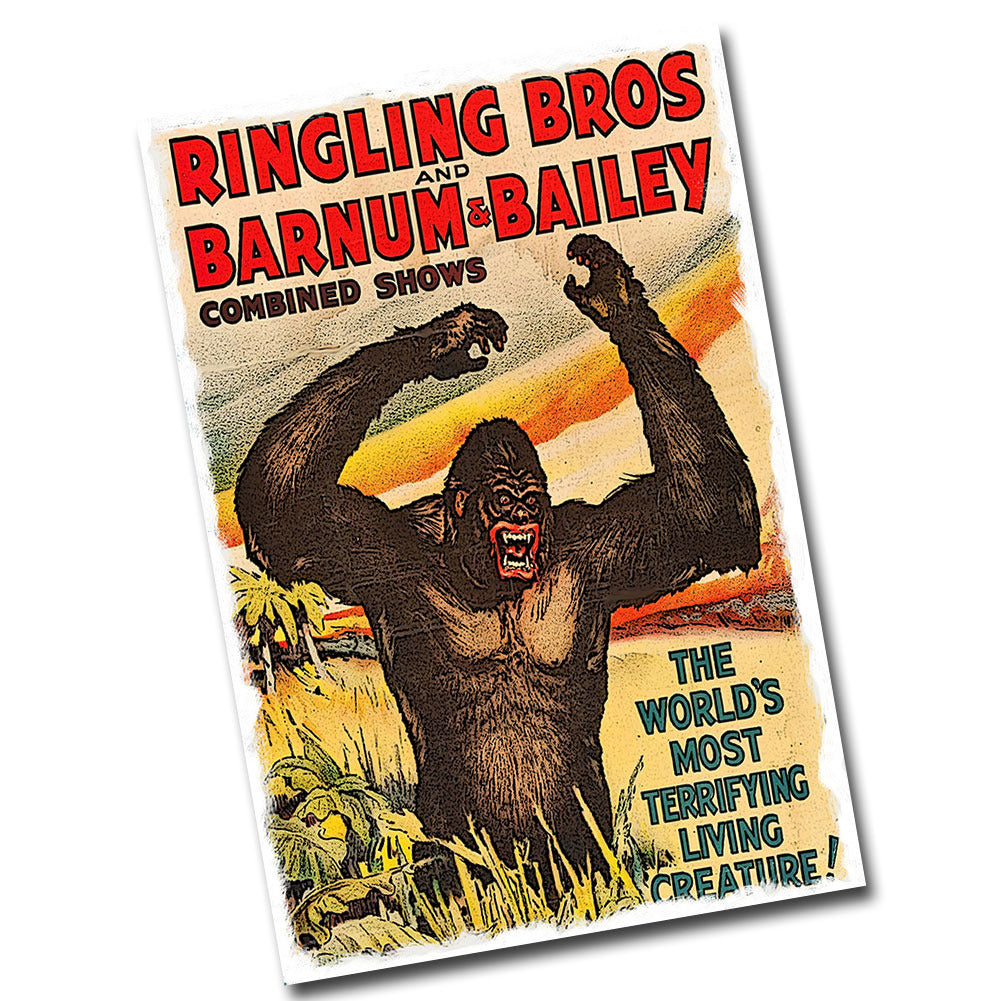 "Ringling Brothers The Worlds Most Terrifying Creature 12"" x 8"" Sign"