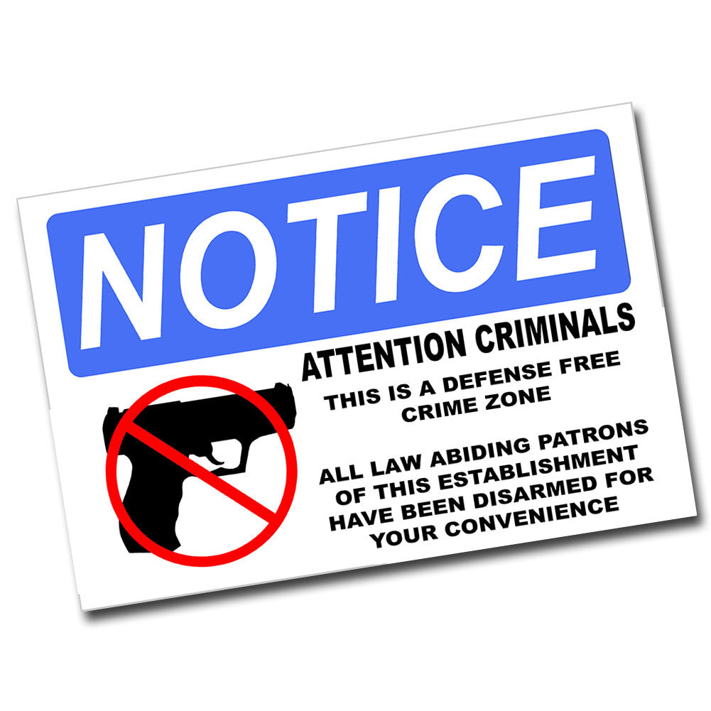 Notice Defense Free Zone 8x12 Metal Poster