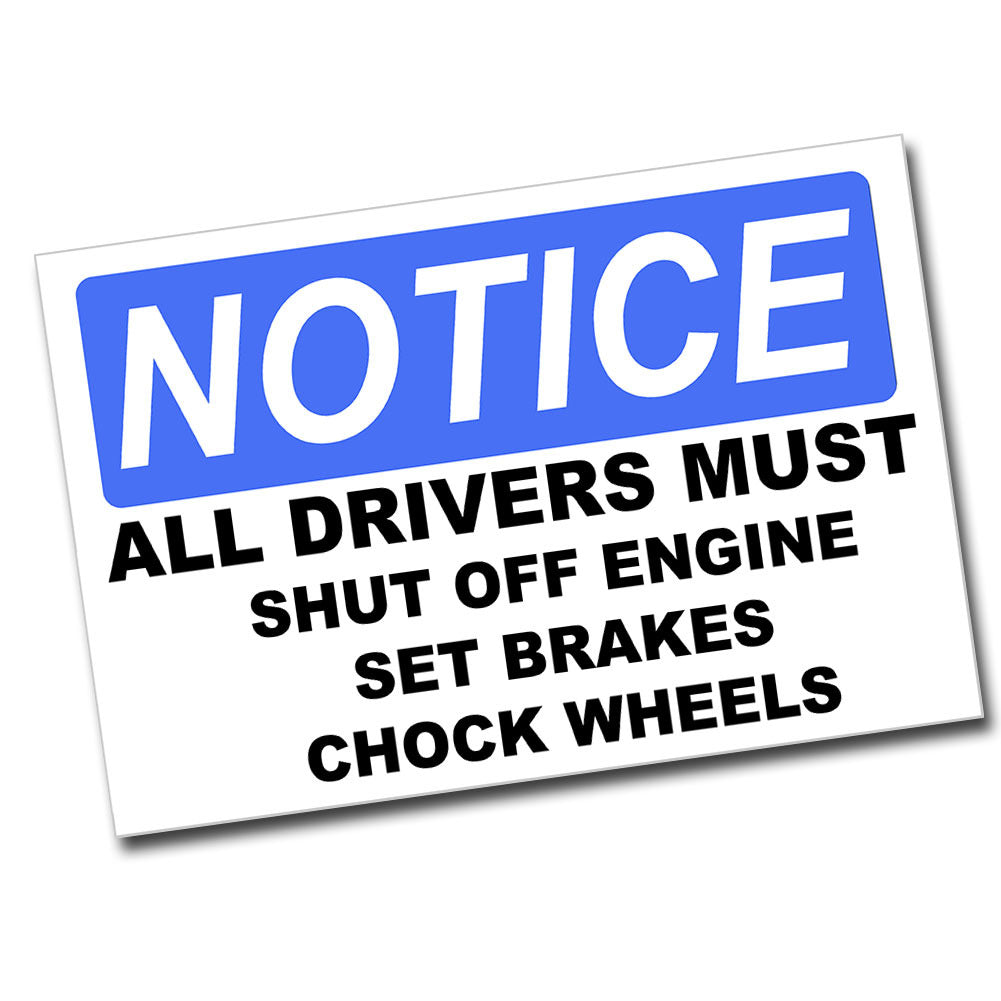 Notice Shut Off Engine 8x12 Metal Warning Sign