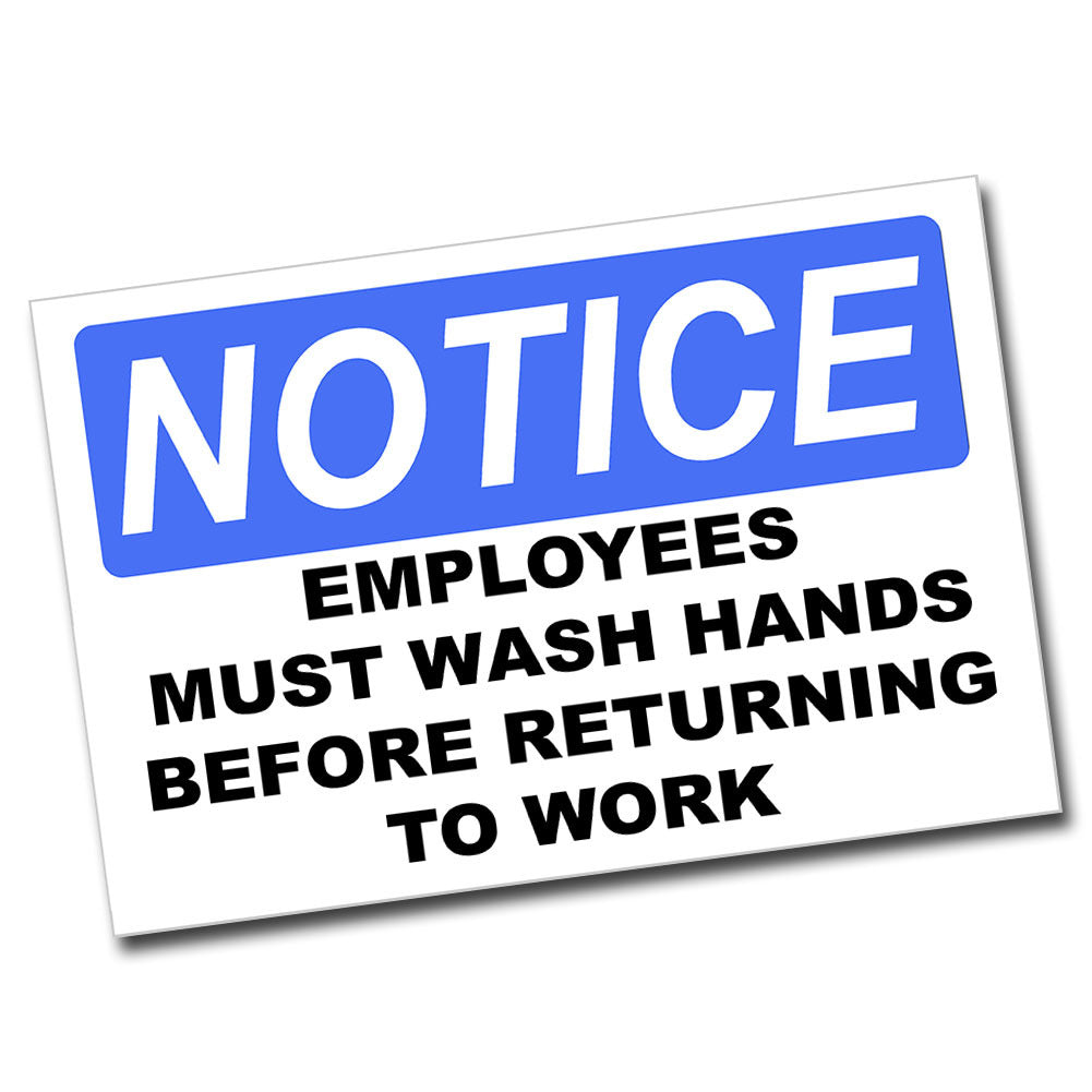 Notice Employees Hand Wash 8x12 Metal Sign