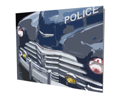 1950's Vintage Police Car Aluminum Stand Off Wall Decor