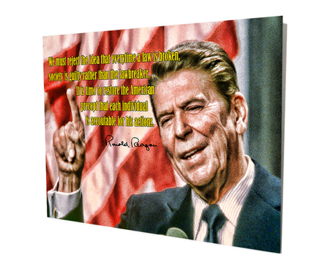 Ronald Reagan Quote Stand Off Aluminum Metal Wall Decor