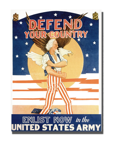 Vintage US Army Advertisement Enlist Now Stand Off Wall Decor