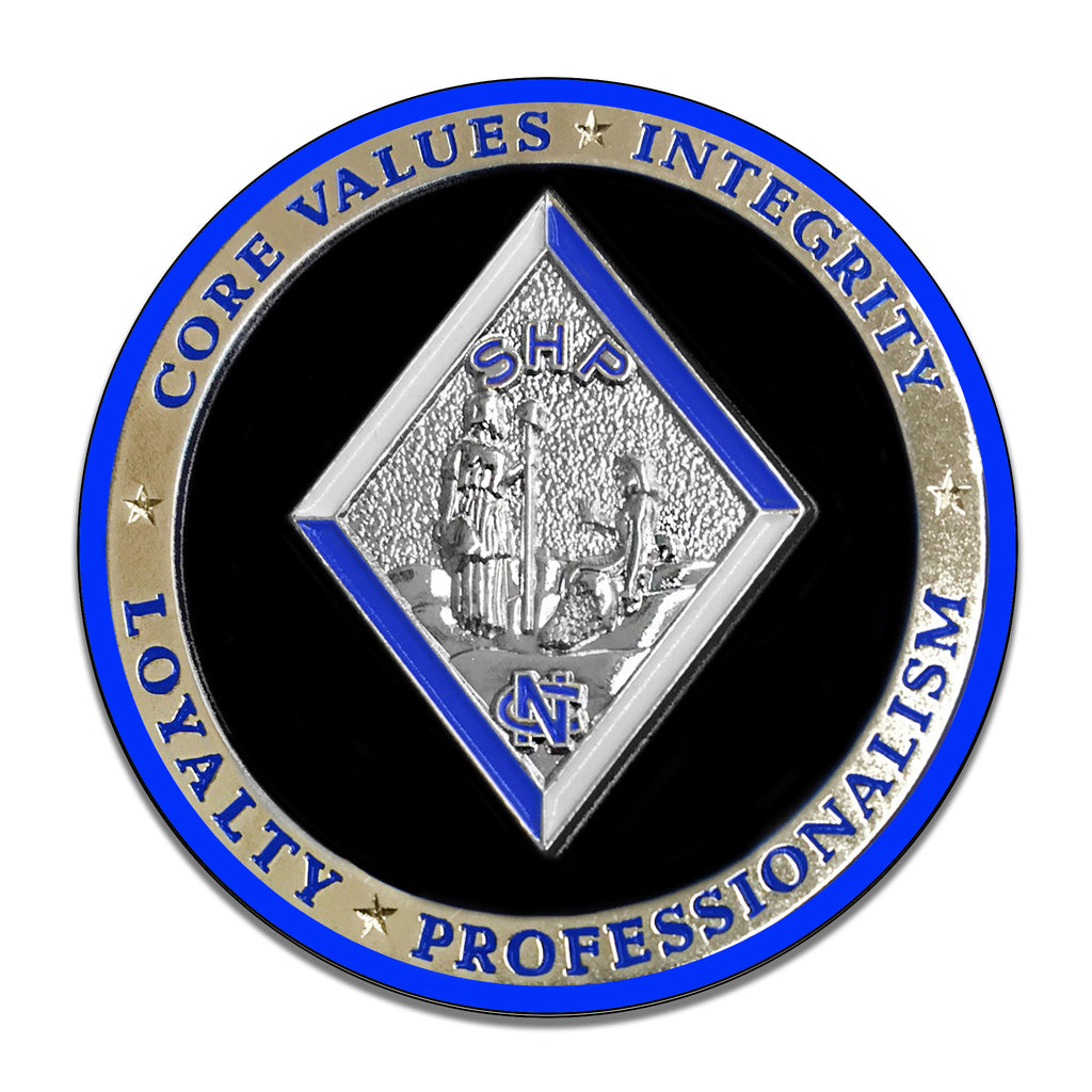 North Carolina State Highway Patrol Core Values Coin 11.75 Inch Circle Aluminum Sign