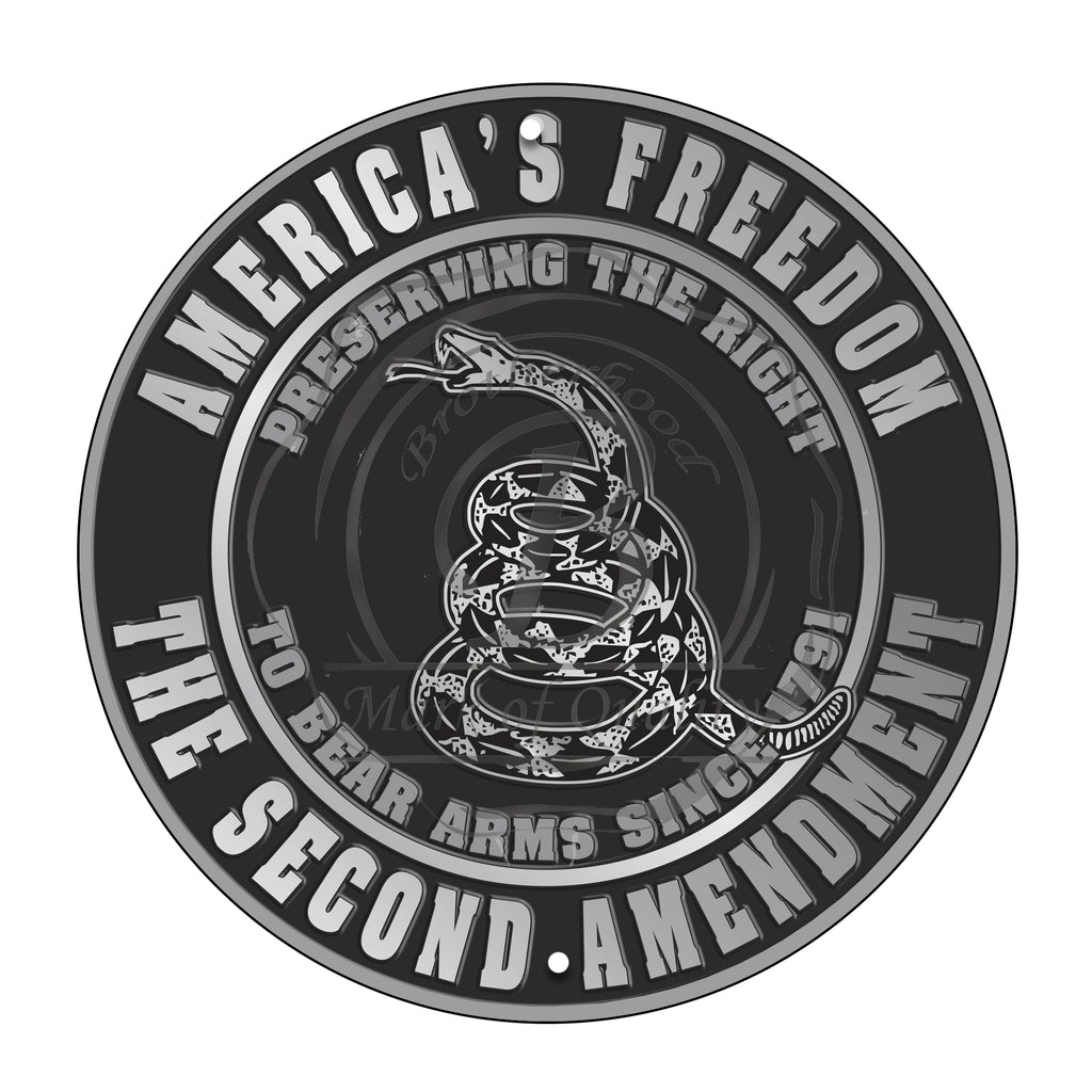 America's Freedom Preserving The Right To Bear Arms 11.75 Inch Circle Aluminum Sign