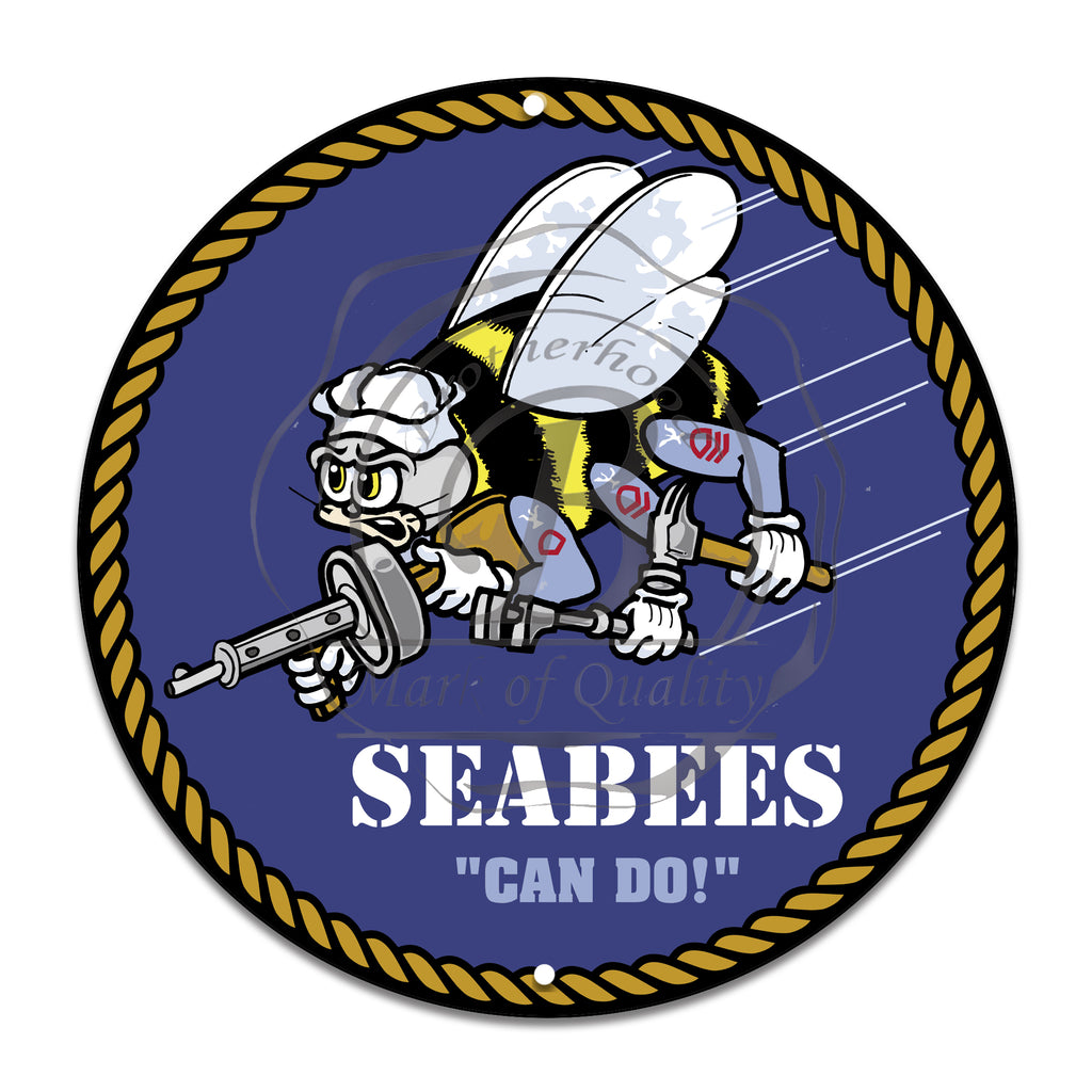 United States Navy Seabees Can Do 11.75 Inch Circle Aluminum Sign